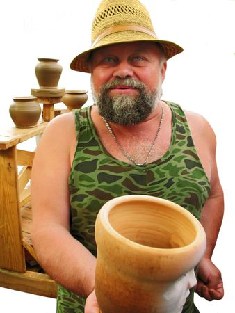 The smiling master  -  potter with a jug photo