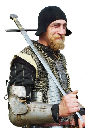 enactment: Smile man in an Historical enactment of Knight in armor