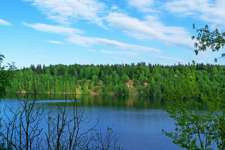 atmosphere construction: In the water of the lake reflects the blue sky.