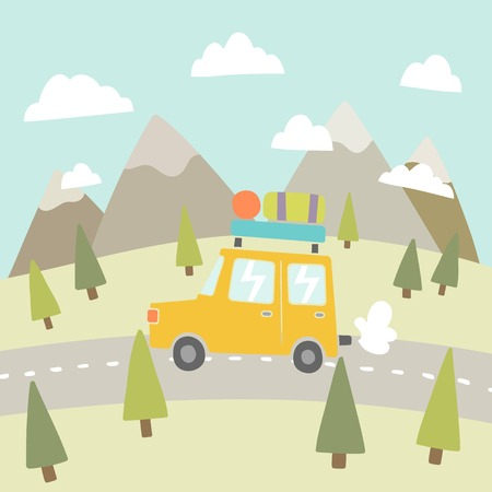 Road trip. Mountain landscape. Vector EPS 10 hand drawn illustration