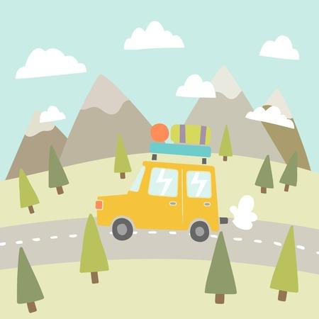 Road trip. Mountain landscape. Vector EPS 10 hand drawn illustration