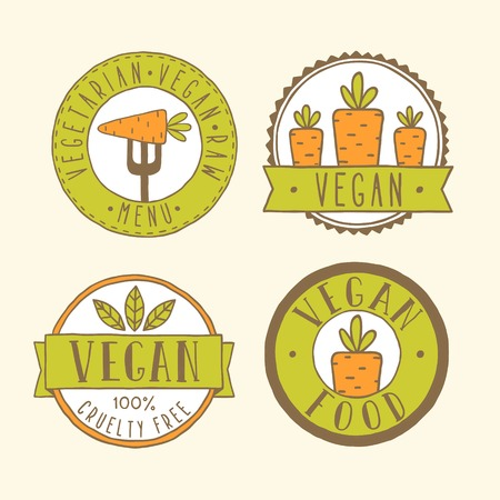 Vegan food badges. Vector EPS 10 hand drawn labels. Vector