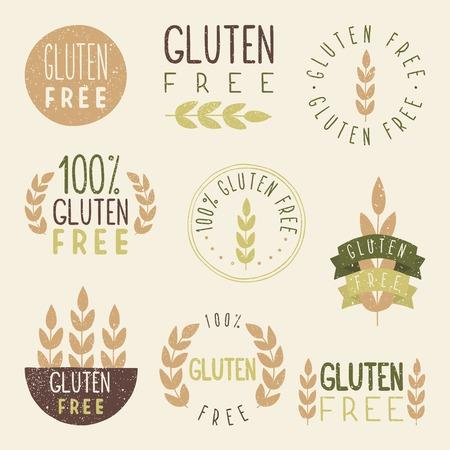 produits c�r�aliers: Gluten �tiquettes libres. Vector EPS 10 signes dessin�s � la main.