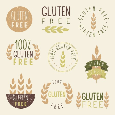 Gluten free labels. Vector EPS 10 hand drawn signs. Illustration