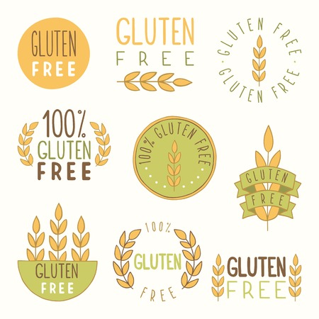 Gluten free labels. Vector EPS 10 hand drawn signs. Vector