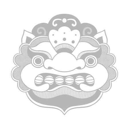 Traditional balinese mask. Barong. Vector EPS 10 hand drawn illustration.