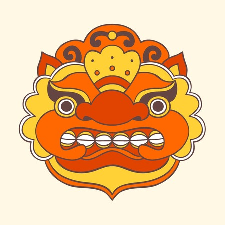 Traditional balinese mask. Barong. Vector EPS 10 hand drawn illustration.