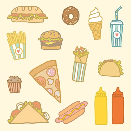 food art: Vector EPS10 hand drawn set of fastfood meals