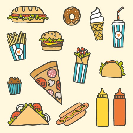 sweet mustard: Vector EPS10 hand drawn set of fastfood meals