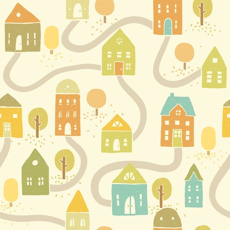 Vector EPS10 hand drawn autumn houses seamless pattern Vector