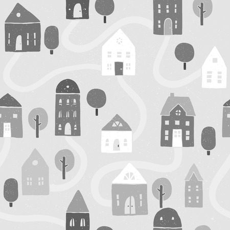 Vector EPS10 hand drawn houses seamless pattern Vector