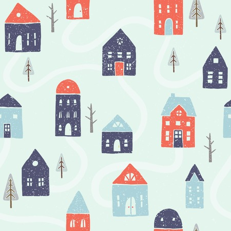 Vector EPS10 hand drawn winter houses seamless pattern Vector