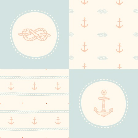 Retro anchor pattern set. Vector EPS 10 hand drawn illustration Vector
