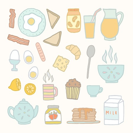 Breakfast food and drink. Vector EPS 10 hand drawn isolated objects. Vector