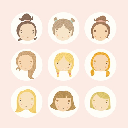 cute teen girl: Set of 9 vector cartoon girls faces. Vector EPS 10 hand drawn illustration