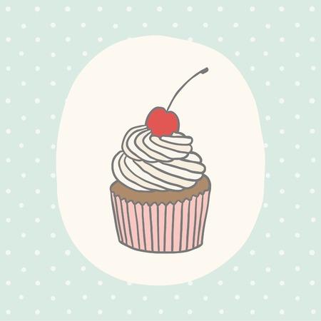 vanilla cupcake: Cute greeting card with cupcake.  Vector EPS 10 hand drawn illustration.