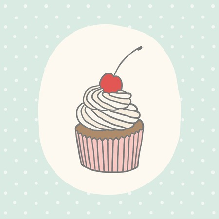 Cute greeting card with cupcake.  Vector EPS 10 hand drawn illustration.