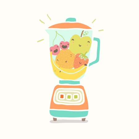 Blender full of funny fruits. Vector EPS 10 hand drawn illustration Vector