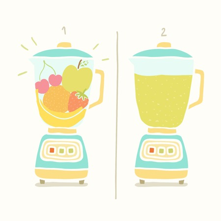 Blender making fruit smoothie. Vector EPS 10 hand drawn illustration Vector