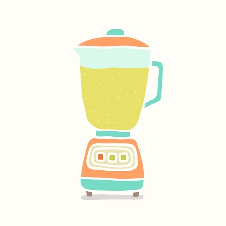 Blender making fruit smoothie. Vector EPS 10 hand drawn illustration
