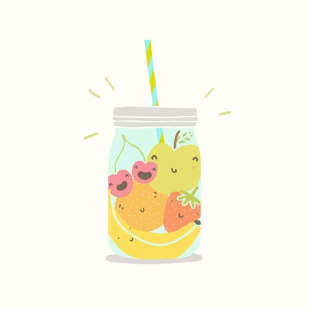 summer fruits: Fruits in smoothie jar. Vector EPS 10 hand drawn illustration.