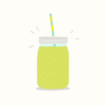 Green smoothie in a jar. Vector EPS 10 hand drawn illustartion.