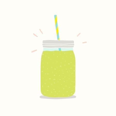 mason: Green smoothie in a jar. Vector EPS 10 hand drawn illustartion.