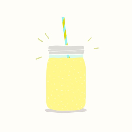 Yellow smoothie in a jar. Vector EPS 10 hand drawn illustration.