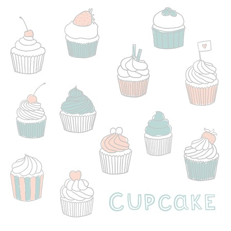 blueberry muffin: Cute Hand drawn cupcakes. Vector EPS 10 illustration.