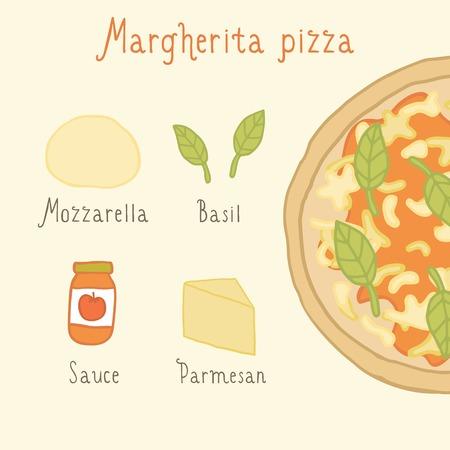 margherita: Margherita pizza ingredients. Vector EPS 10 hand drawn illustration. Illustration
