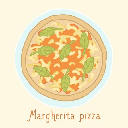 margherita: Margherita pizza. Vector EPS 10 hand drawn illusatrtion Illustration