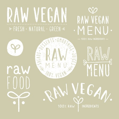 Old textured raw vegan badges. Vector EPS 10 hand drawn labels Ilustração