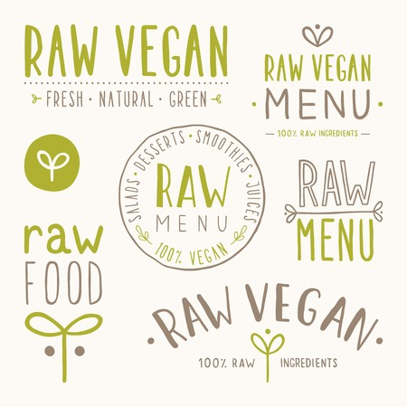Raw vegan badges. Vector EPS 10 hand drawn labels