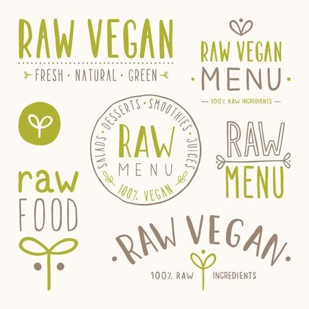 Raw vegan badges. Vector EPS 10 hand drawn labels