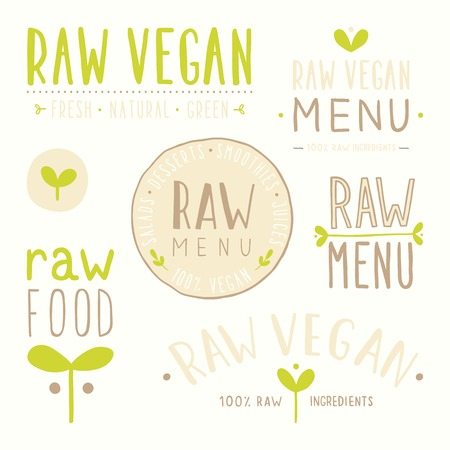 Raw vegan badges. Vector EPS 10 hand drawn labels Vector