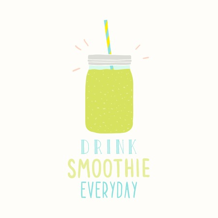 Drink smoothie everyday. Cute hand drawn jar. Vector EPS 10 illustration.