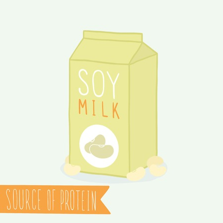 white beans: Soy milk in a carton pack.  Illustration