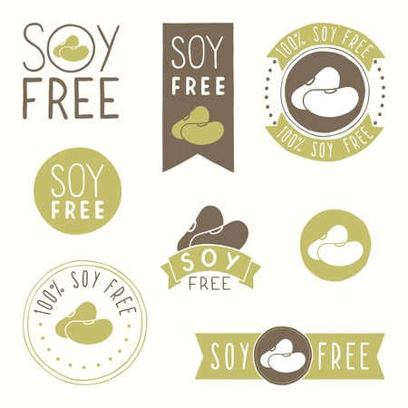 Soy free hand drawn labels. Vector EPS 10 illustration Illustration