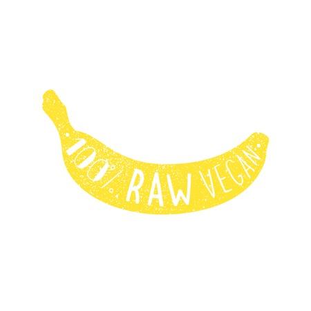 eating banana: Raw vegan banana label.