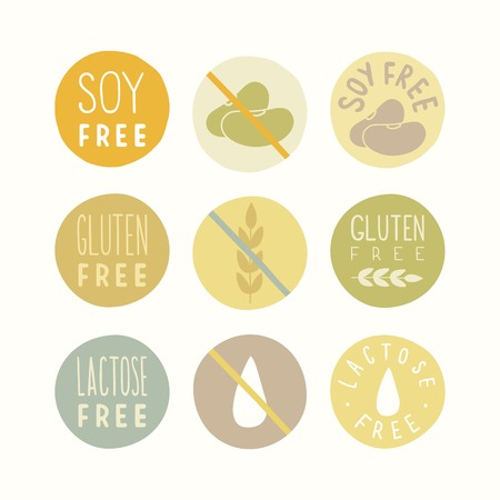 Soy, gluten, lactose free signs. Vector hand drawn illustration Illustration