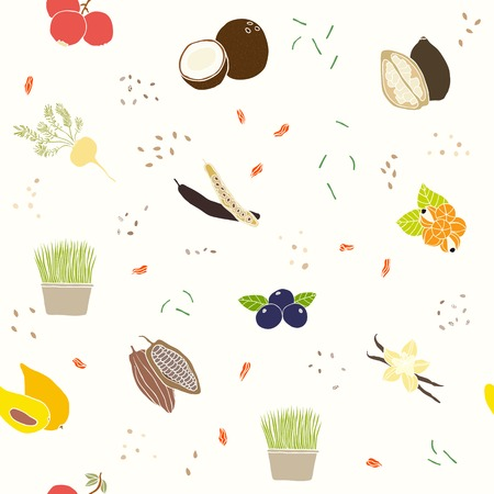 flax seed: Superfoods pattern. Vector EPS 10 hand drawn seamless pattern.