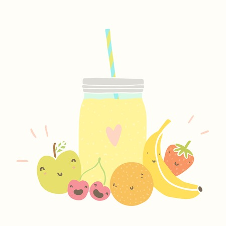 Jar with smoothie and funny fruits.