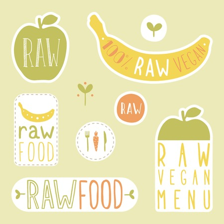 raw: Raw vegan labels. Vector EPS 10 hand drawn signs.