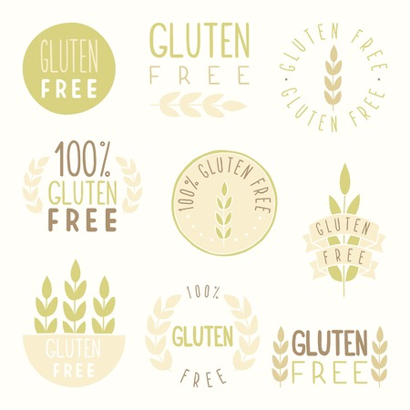 celiac: Gluten free badges. Vector hand drawn illustration Illustration