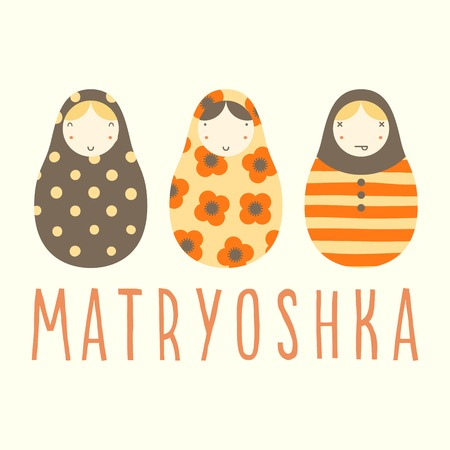 russian ethnicity: Three matryoshka dolls. Vector hand drawn illustration card. Illustration