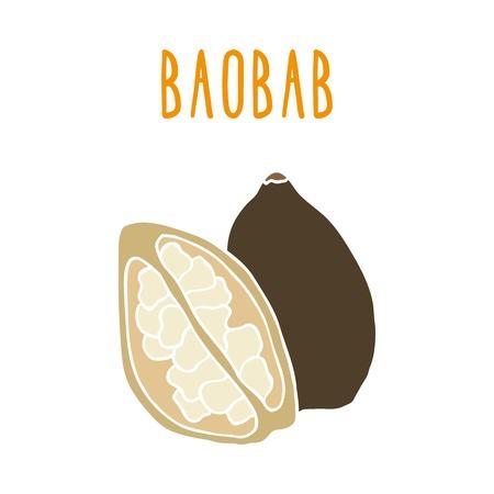 digitata: Baobab. Vector hand drawn illustration
