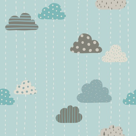 Funny clouds pattern. Vector hand drawn seamlees pattern. Vector