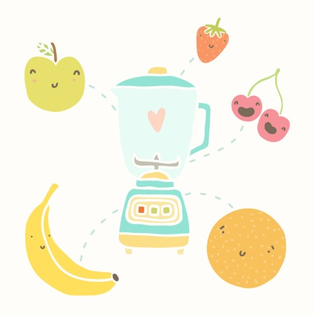 vectro: Blender and funny fruits. Vectro hand drawn illustration