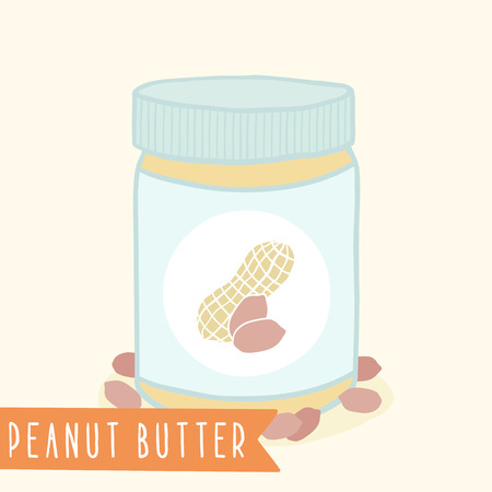 nutty: Peanut butter in jar.  Illustration