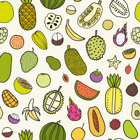 guava fruit: Tropical fruits seamless pattern. Vector hand drawn illustration